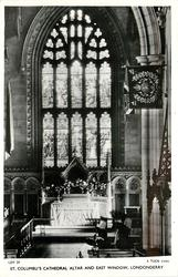 ST. COLUMBU'S CATHEDRAL ALTAR AND EAST WINDOW (Tuck error for ST. COLUMB'S)