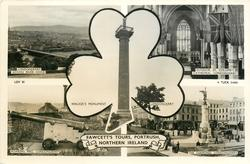 5 insets LONDONDERRY ACROSS RIVER FOYLE/INTERIOR, ST, COLUMB'S CATHEDRAL, LONDONDERRY/WALKER'S MONUMENT LONDONDERRY/ROARING MEG, LONDONDERRY THE DIAMOND, LONDONDERRY