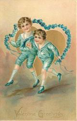 VALENTINE GREETINGS  two boys in blue skip with forget-me-not rope