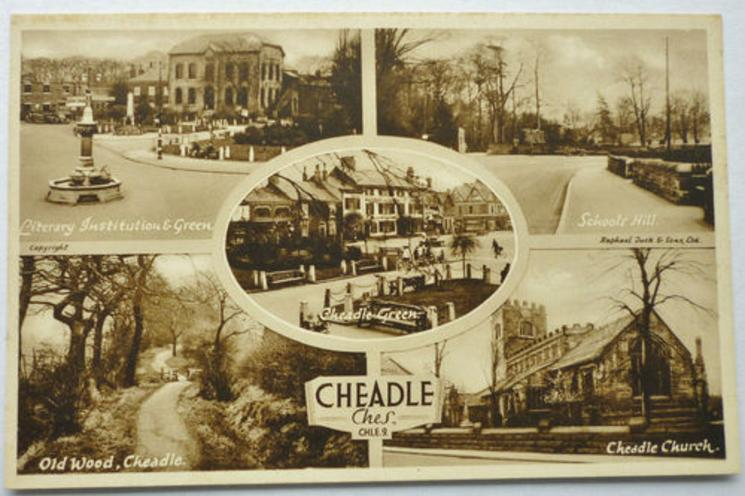 5 insets LIBRARY INSTITUTION & GREEN/SCHOOL HILL/CHEADLE GREEN/OLD WOOD, CHEADLE/CHEADLE CHURCH