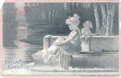 nymph sits on stone seat facing & looking left, one cupid