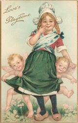 LOVE'S PLAYTIME  Dutch girl with two cupids holding her skirt