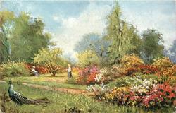 peacock, left foreground, two woman, one seated
