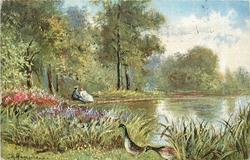 two ducks lower, pond behind, two woman seated on left bank