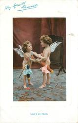 MY HEART'S DEAREST  LOVE'S PLEADING two cupids face off holding each others arms