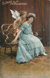 TO GREET MY VALENTINE   cupid whispers in the ear of seated girl in a blue dress