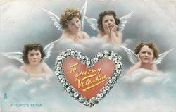 TO GREET MY VALENTINE  IN CUPID'S REALM  four angels over red inscribed heart with floral border