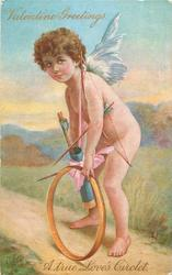 VALENTINE GREETINGS A TRUE LOVE'S CIRCLET cupid stoops over golden circlet
