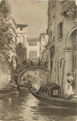 gondolas on Venice canal, woman in white dress, right
