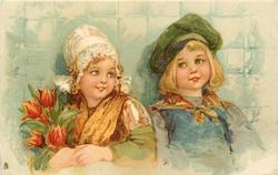girl with brown dress, boy with green cap, tulips to left