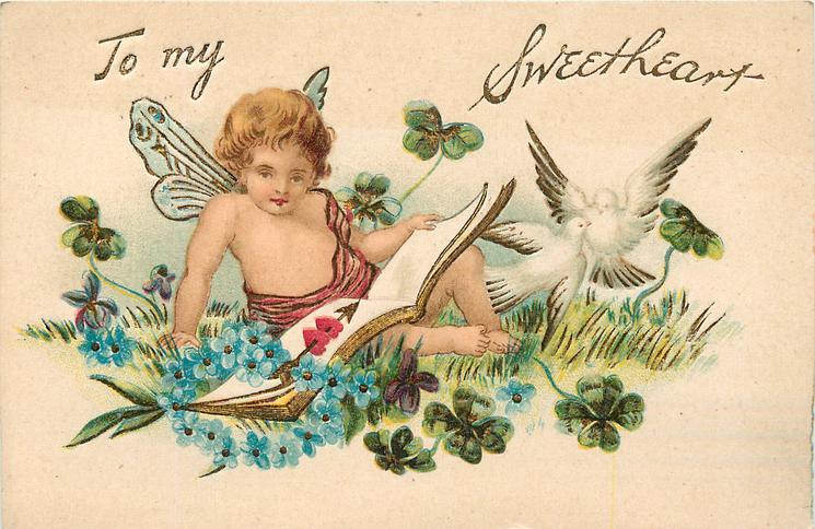 TO MY SWEETHEART cupid sits on grass reading, 2 white doves right, forget-me-nots around