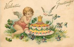 VALENTINE GREETINGS  cupid in red looks at fancy cake, dove