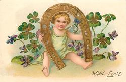 WITH LOVE cupid in blue/green looks through large horseshoe