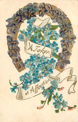A TOKEN OF AFECTION  horseshoe, forget-me-nots & violets