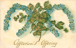 AFFECTION'S OFFERING  clover between two horseshoes of forget-me-nots