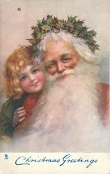 CHRISTMAS GREETINGS  head & shoulders of Santa, right with huge white beard, child peers over his shoulder, left