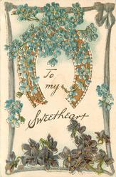 TO MY SWEETHEART  gold horseshoe with forget me nots, violets below