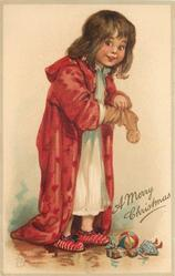 A MERRY CHRISTMAS  girl in red robe and white nighty stands with empty sock in hand, gifts on floor