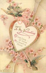 TO MY VALENTINE  TRUE LOVE OF MINE MY HEART IS THINE birds & flowers