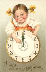 A BRIGHT AND HAPPY NEW YEAR  girl above clock points to its centre  image^