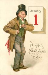 A HAPPY NEW YEAR TO YOU  man wearing top-hat pulls card from coat pocket in front of calendar JANUARY 1  image#