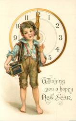 WISHING YOU A HAPPY NEW YEAR  urchin stands smoking in front of clock at 12 o'clock  image^^