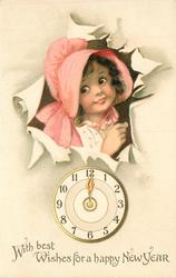 WITH BEST WISHES FOR A HAPPY NEW YEAR  girl in pink bonnet breaks through paper above clock  image****