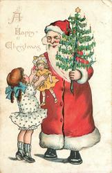 A HAPPY CHRISTMAS Santa gives girl doll while holding small Christmas tree in his left hand
