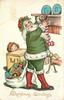 CHRISTMAS GREETINGS green robed Santa puts toys in stocking, girl peeks from behind