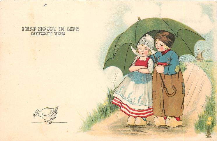 I HAF NO JOY IN LIFE MITOUT YOU boy & girl under green umbrella