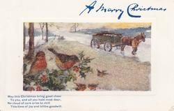 A MERRY CHRISTMAS man leads horse & cart in snow upper right, robins lower left