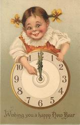 WISHING YOU A HAPPY NEW YEAR  girl above clock points to its centre  image^