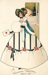 A VALENTINE GREETING, THAT'S ALL  girl in white  & blue dress carrying a valentine