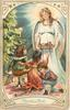 HEUREUX NOEL  angel with light above offers food to three children seated front, Xmas tree left