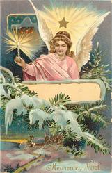 HEUREUX NOEL  angel with light above snow covered fir branch & church below