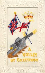 A VOLLEY OF GREETINGS  Union Jack, white ensign, crown and old naval gun