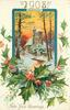 NEW YEAR GREETINGS  '1908' at top  inset walkway to gate of church, holly