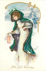 NEW YEAR GREETINGS  girl in white dress & blue coat carries lantern & gift in snow