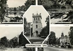 5 insets LAKE AND PUMP ROOM and RIVER AND BRIDGE FROM JEPHSON GARDENS and CHRIST CHURCH and THE MONUMENT and THE PARADE