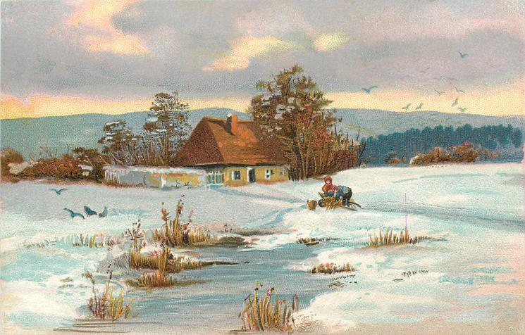 snow scene, two people, one bending over, in front of house, ice lower centre, distant birds