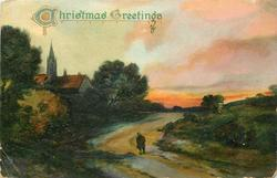 CHRISTMAS GREETINGS rural evening scene, much deep green, church among trees left, person on centre road