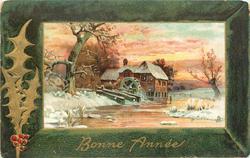 BONNE ANNEE snow scene of watermill, tree left
