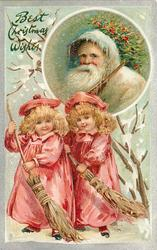 BEST CHRISTMAS WISHES  two girls in red sweep below head & shoulders of white coated Santa