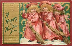 children, three girls in pink sweep snow with brooms