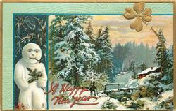 rural, gilt clovers, snowman left, snow scene with man using cane about to cross bridge to cottage