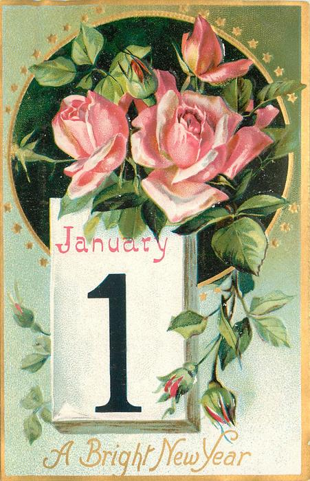 A BRIGHT NEW YEAR  calendar to left, pink roses above