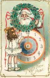 A HAPPY NEW YEAR  santa, above clock, looks through holly wreath at girl