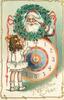 A HAPPY NEW YEAR  santa, above clock, looks through holly wreath at girl