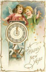 A HAPPY NEW YEAR  two angels above clock, insert below of lighted house