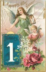 A HAPPY NEW YEAR  two angels above, calendar & red roses below